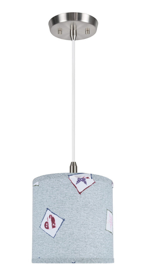 # 71053  1-Light Hanging Pendant Light with Transitional Hardback Drum Fabric Lamp Shade, Light Blue - Patriotic Accents, 8