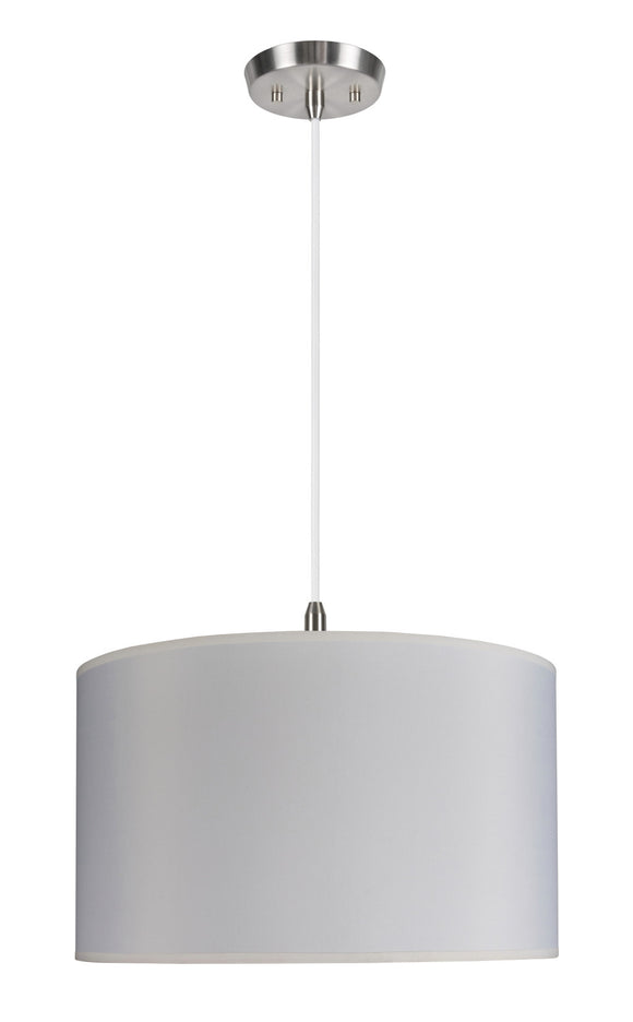 # 71007 2-Light Hanging Pendant Ceiling Light with Transitional Hardback Drum Fabric Lamp Shade in Off White, 17