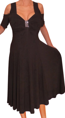 Funfash Plus Size Women Open Cold Shoulders Black Cocktail Dress Made in USA