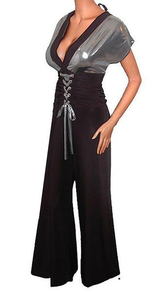 Funfash Plus Size Women Pants Corset Black Gray Jumpers Jumpsuit Top Made in USA