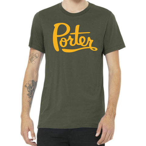 Army Green & Gold Porter Tee