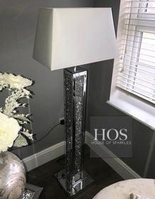 Diamond Crush 3 Dimensional Mirrored Floor Lamp | HOS Home | Mirrored furniture | Affordable Luxury