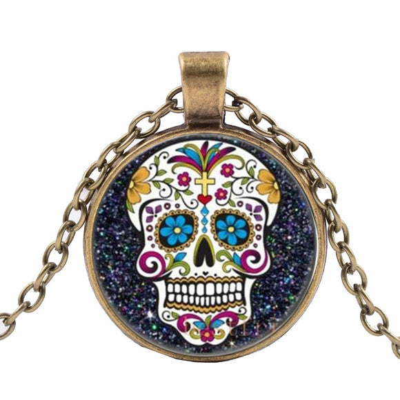 Colorful Sugar Skull Bronze Necklace Calavera Día de los Muertos dearly Departed - Cool Hot Fashions