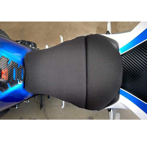 Gel seat cushion on top of a blue motorcycle