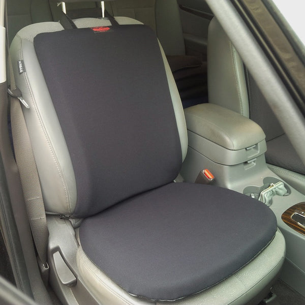 Gel cushions on a car seat and seat back