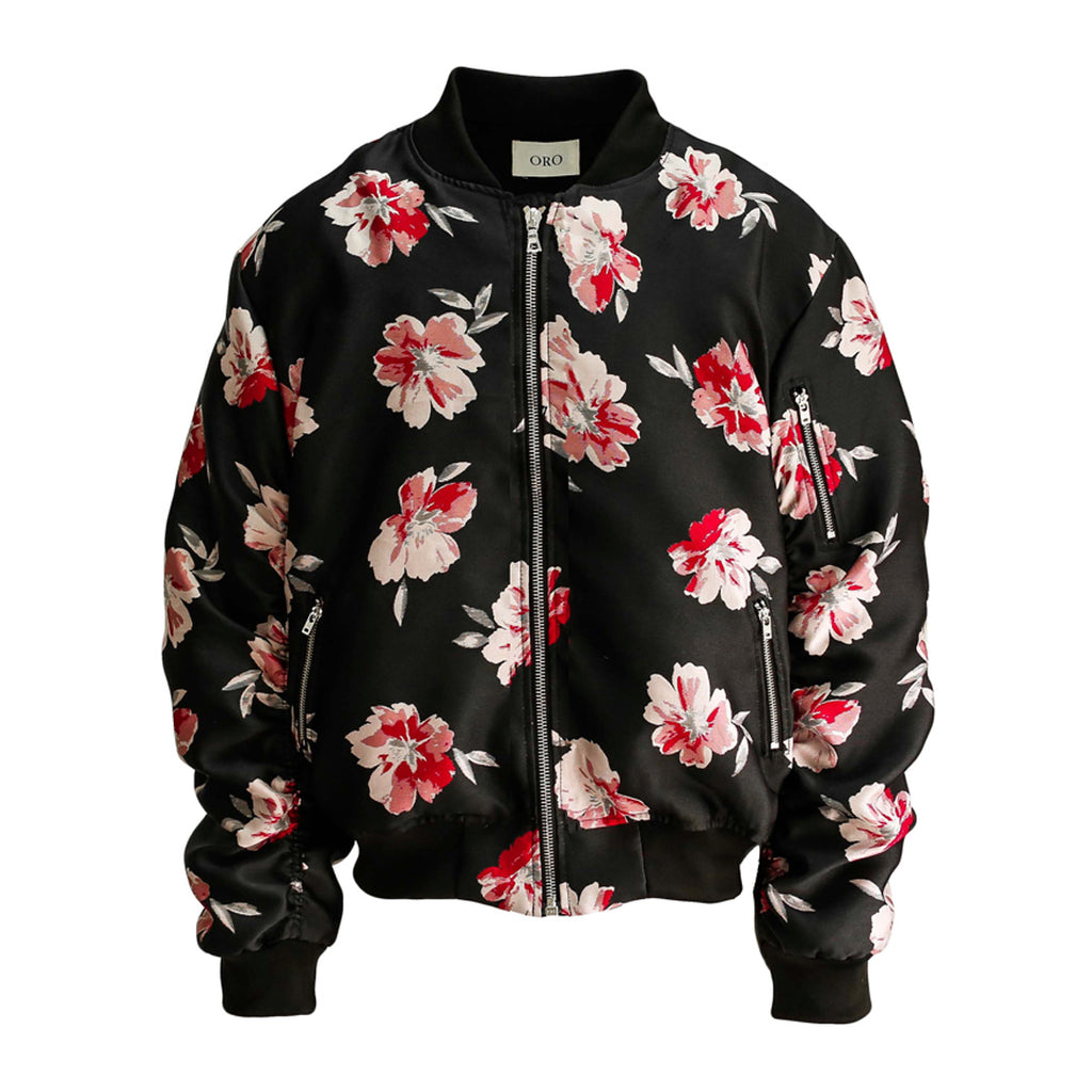 The Red Floral Bomber Jacket by Oro