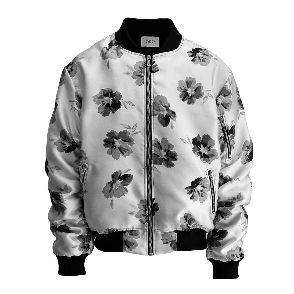The Silver Floral Bomber Jacket by Oro
