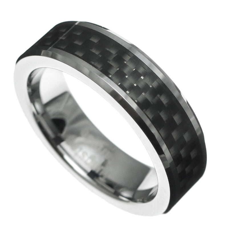 6mm Carbon Fiber Beveled Tungsten Carbide no stone Ring Wedding Band Size 5-12