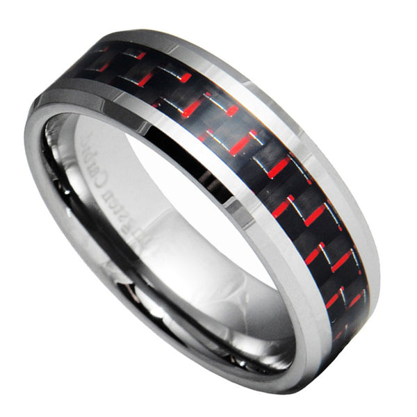 8mm Tungsten Carbide Red & Black Carbon Fiber Wedding Band Ring Size 7-15