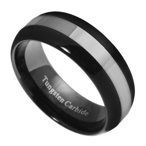 8mm Tungsten Carbide Men Women Black & Silver Dome Wedding Band Ring Size 9-13.5