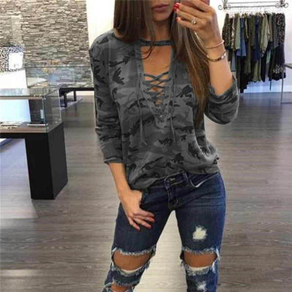 Camouflage Lace Up Bandage Top