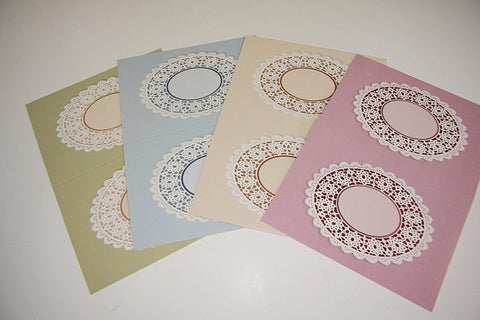 "Printed Lace Doily Greeting Cards, 4.5"" x 6.5"", 4 pack"