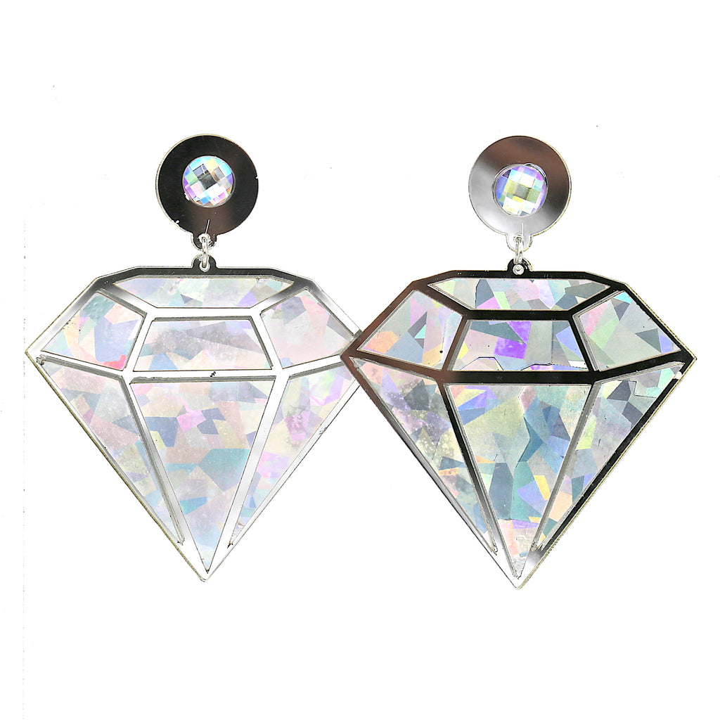 Big Acrylic Silver Diamond Studs Earring