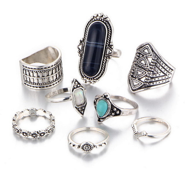 multiple silver ring set
