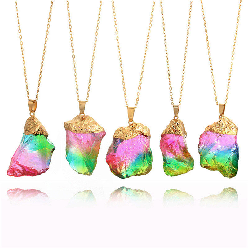 5 piece rainbow stone necklace with gold lace