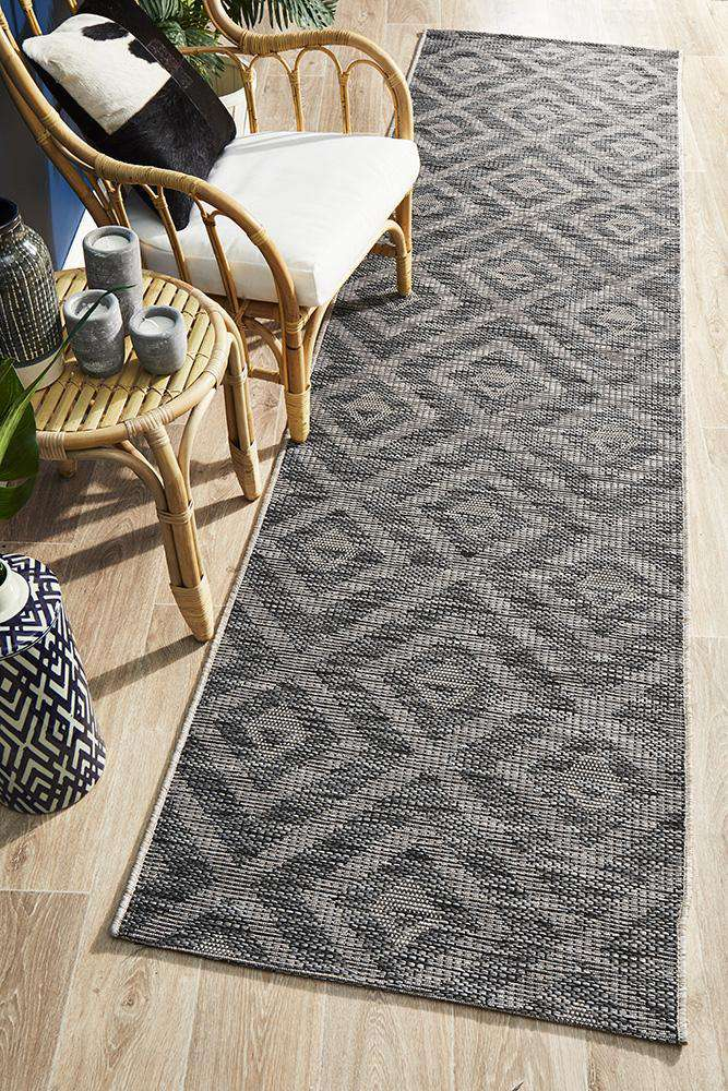 Piraeus Outdoor Runner Black | Outdoor Rugs | AfterPay Rugs | Free Delivery Rugs