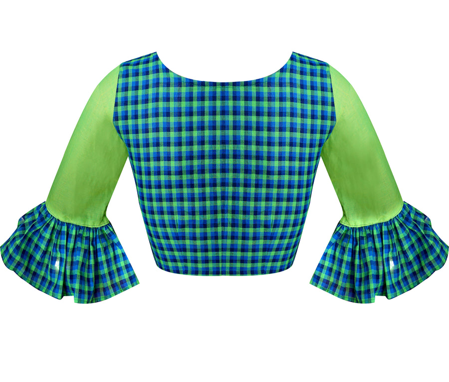 Boat Neck South Cotton Checks & Mangalagiri Elbow Sleeves Readymade Blouse