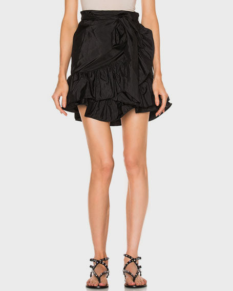 RUFFLED TAFFETA WRAP SKIRT