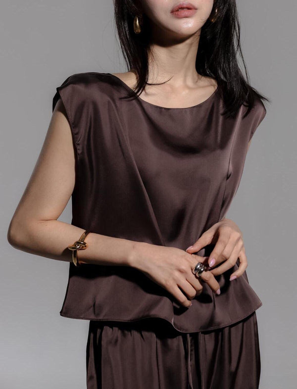 LUXE SILK SLEEVELESS BLOUSE - 6 COLORS