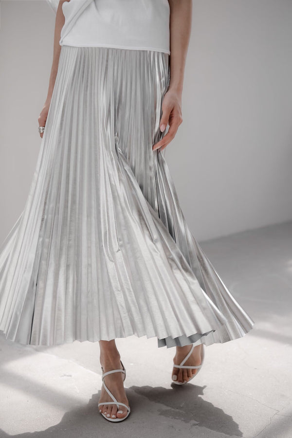 LUXE FOIL PLEATED SKIRT