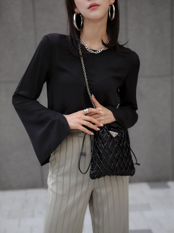 CHIFFON FLARED SLEEVE BLOUSE