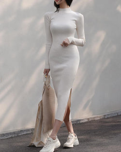 HIGH NECK SLIT KNIT DRESS - 4 COLORS