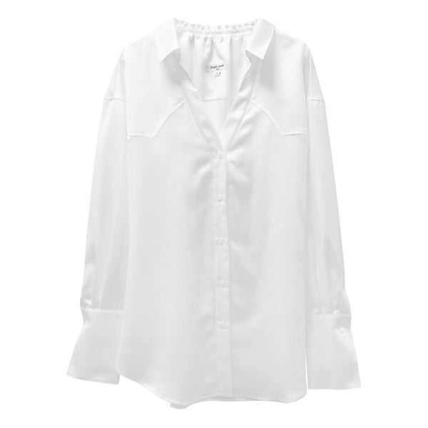 LUXE BANDED V-LINE BLOUSE