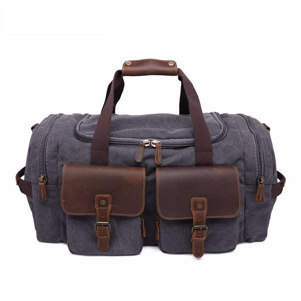 ROCKCOW Weekender Overnight Bag Canvas Genuine Leather Travel Duffel Tote AF14