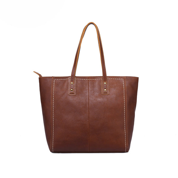 Women Full Grain Leather Tote Bag Vintage Shoulder Bag Daily Work Handbag YD8245