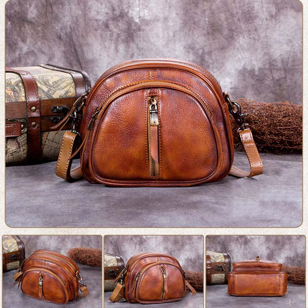 Handmade Vintage Full Grain Leather Shoulder Bag, Women Satchel Bag A0192 - ROCKCOWLEATHERSTUDIO