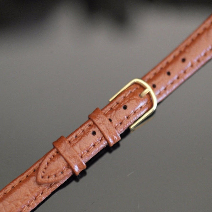 12mm Watch Strap Brown genuine Leather Gold Plated Buckle
