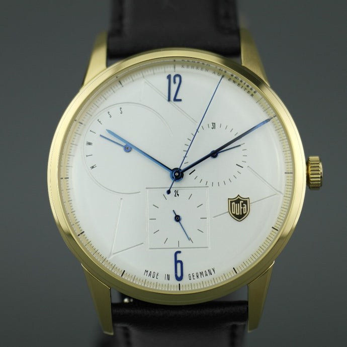DuFa Weimar Calendar Gents gold plated watch with black leather strap