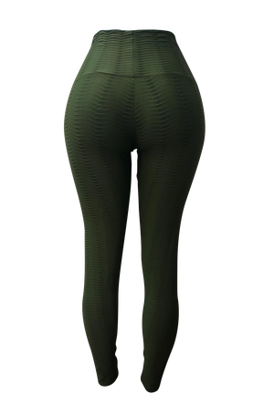 Olive Green Fish Scale Leggings
