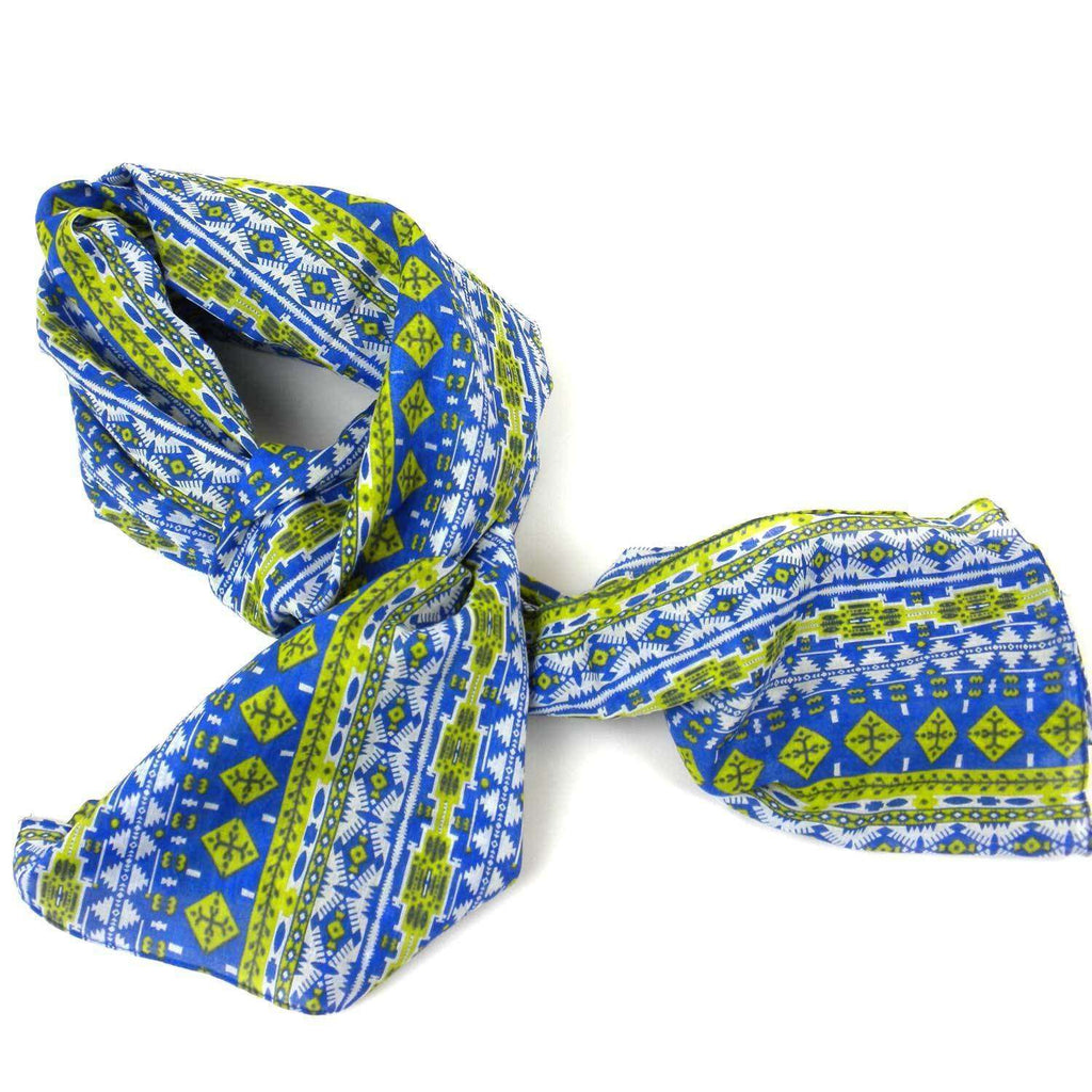 Blue and Green Glyph Cotton Scarf - Asha Handicrafts CoolHatcher at TheArtOfLiving.Earth