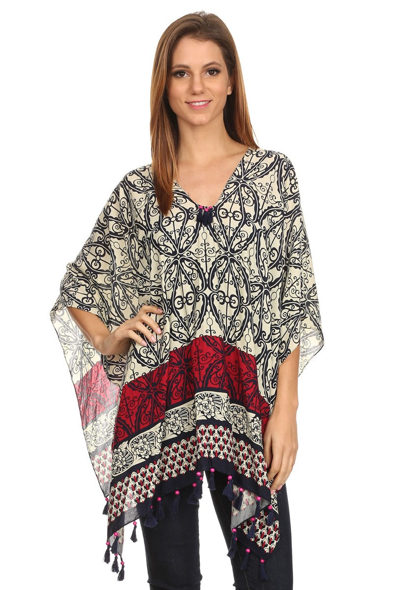 Womens Pullover Lightweight Poncho with Wooden Beaded Tassels CoolHatcher at TheArtOfLiving.Earth