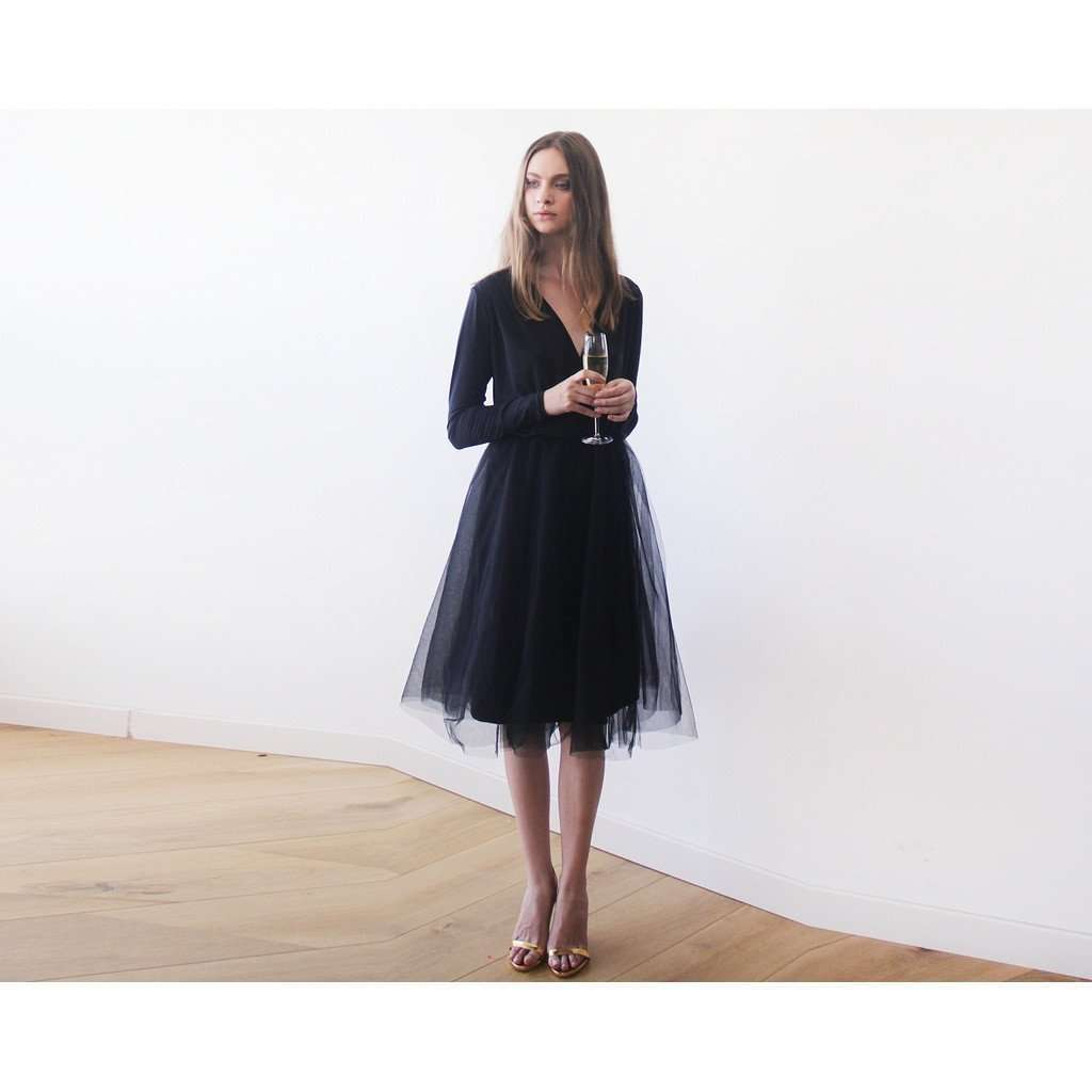 Bordeaux midi tulle dress with long sleeves CoolHatcher at TheArtOfLiving.Earth