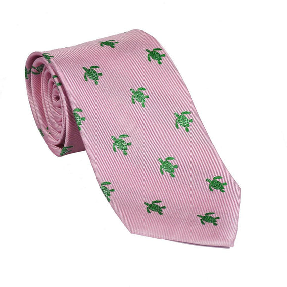 Turtle Necktie - Green on Pink, Woven Silk CoolHatcher at TheArtOfLiving.Earth