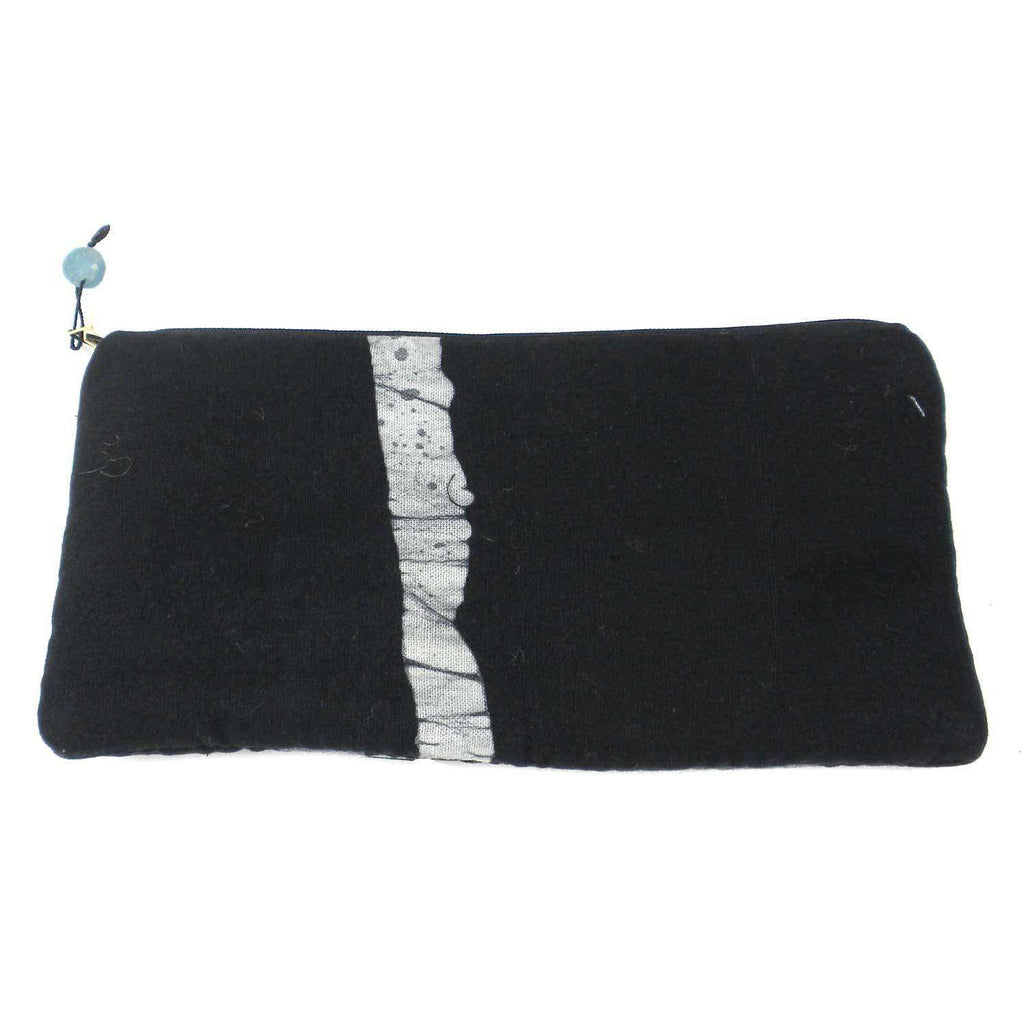 Batiked Clutch Purse - Black - World Peaces (P) CoolHatcher at TheArtOfLiving.Earth