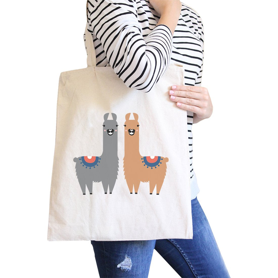 Llama Pattern Canvas Shoulder Bag Cute Foldable Tote Bag For Women CoolHatcher at TheArtOfLiving.Earth