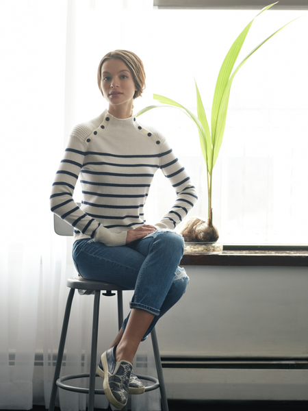 "<i id=""HT"">01</i> Cable Yoke Striped Cashmere Sweater"