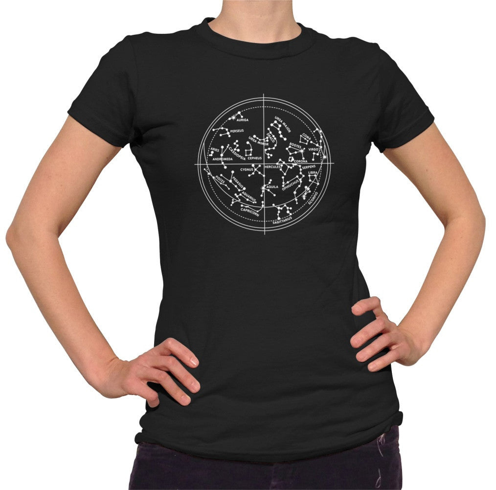Women's Constellation Map Astronomy T-Shirt Constellation Chart