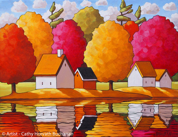Fall Trees River Reflections, Bright Autumn Colors Folk Art Wall Decor