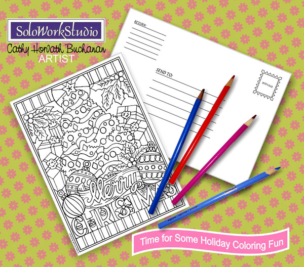 Merry Christmas Coloring Card Kit, Festive Holiday Tree Card + Envelope, Adult Coloring PDF Instant Download, Illustration Printable Digital