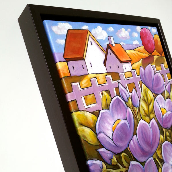 Purple Blooms Framed Original Painting Flower Garden Folk Art Landscape 11x14
