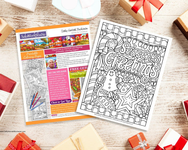 Christmas Coloring Page Seasons Greetings Design, Festive Holiday, Coloring Book, PDF Instant Download, Printable Digital Illustration Art