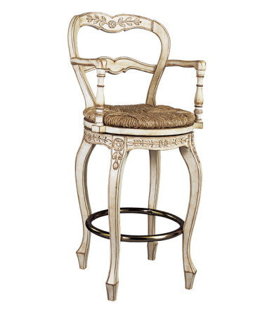 French Ladderback bar swivel stool with arms
