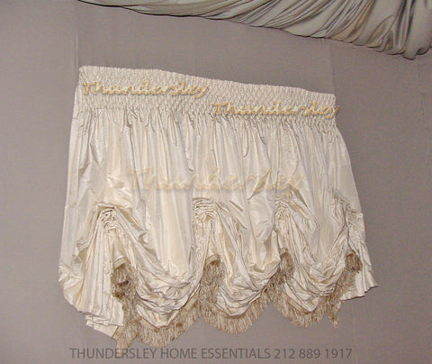 Luxury Balloon Shade, Hand smocked heading