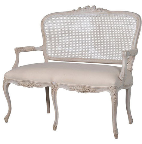French Rattan Loveseat, Chateau Whitewashed
