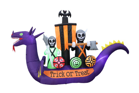 11 Foot Long Halloween Inflatable Dragon Pirate Ship Skeletons Scene Bat Ghosts Yard Decoration