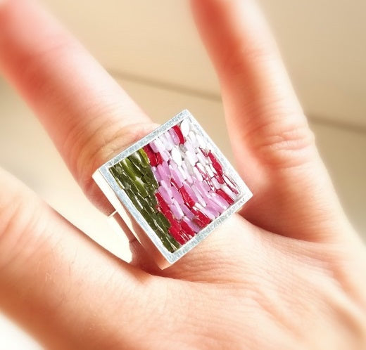 California Sunset Ring micro mosaic and sterling silver - Stilosissima M the new jewelry line -